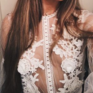 Mesh flower bodysuit